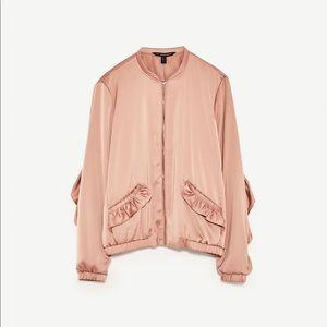 Zara pink satin ruffle bomber Small